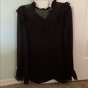 Black Blouse. Sheer with pin dots